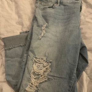 Torrid distressed jeans with lace backing